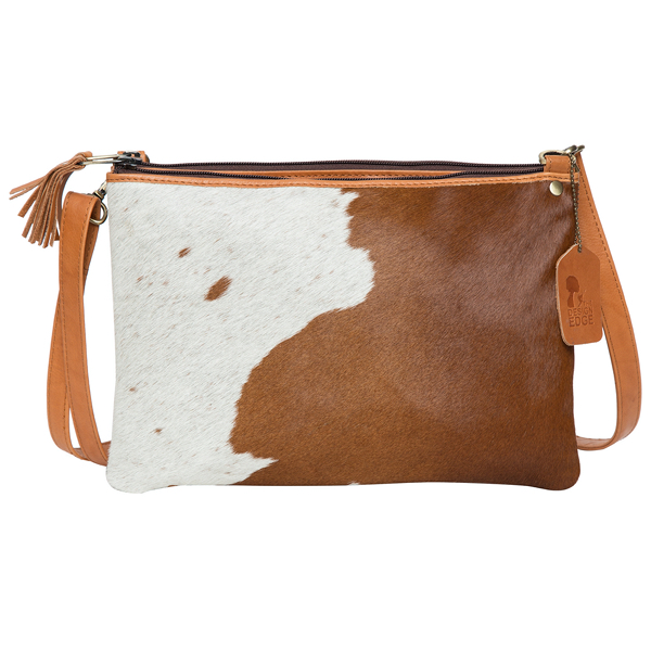 London Distinct Tan White Cowhide Bag