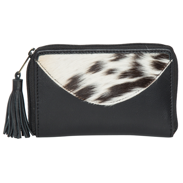 Charlotte Black White Cowhide Wallet