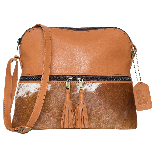 Finland Dark Tan White Cowhide Bag
