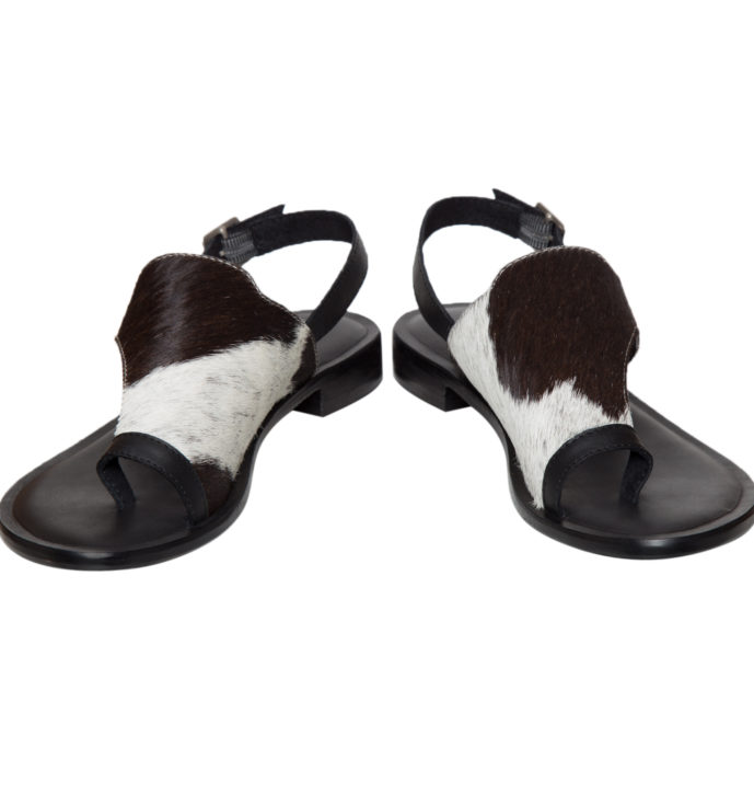 Hairon Toe Flat Sandals Cowhide Footwear (Shoe53 – Min 6pcs)