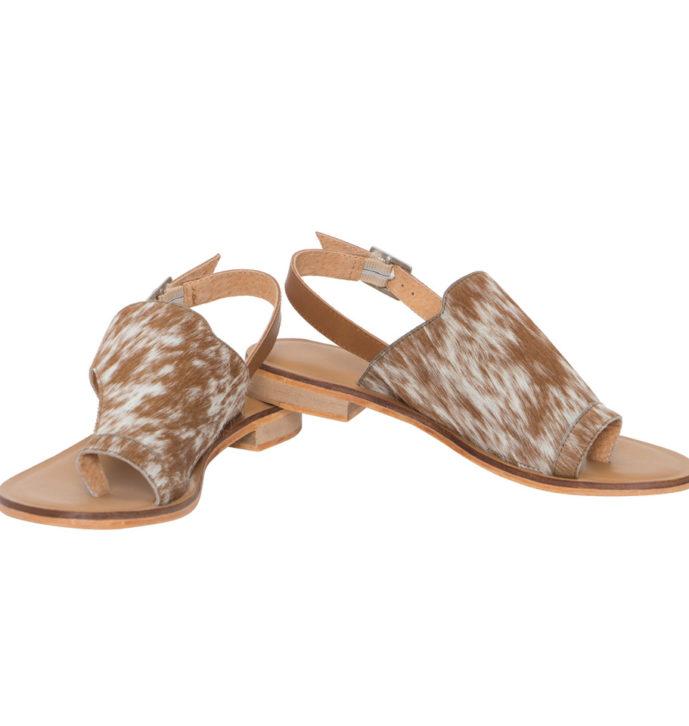 Hairon Toe Flat Sandals Cowhide Footwear (Shoe53 – Min 6pcs)