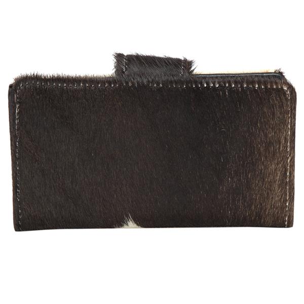 Vermont Dark Black White Cowhide Wallet Back