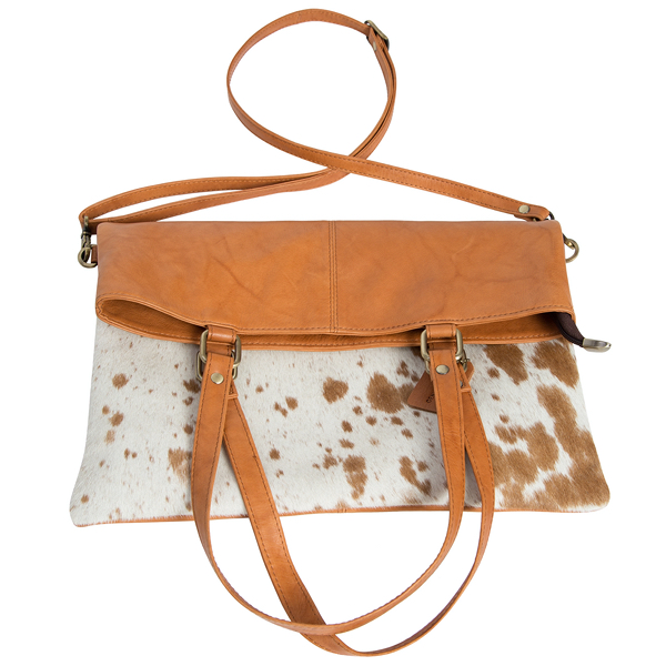 Istanbul Speckly Tan White Cowhide Bag Folded