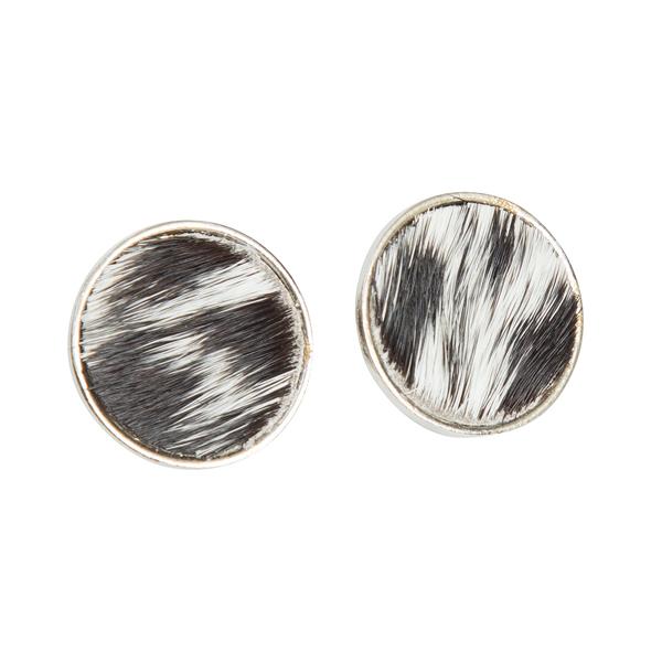 Uganda Black White Cowhide Stud Earrings