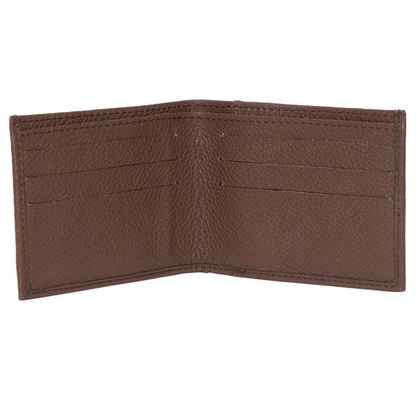 71039 Brown Grain Leather Mens Wallet Open