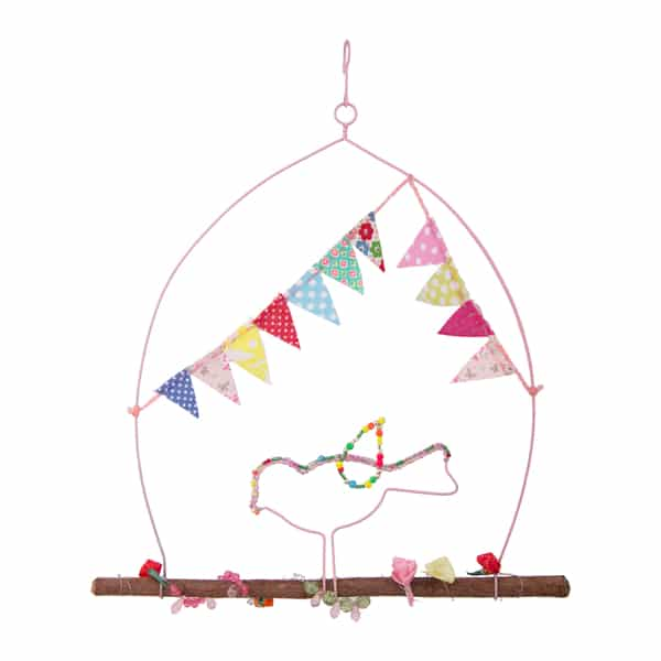 Metal Bird Hanging with Bunting Home Decorative – BH2805 (Min 2pcs)