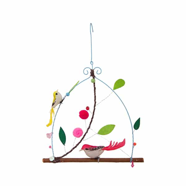 2 Bird Hanging with Leaves and Pompoms Home Decorative – BH2807 (Min 2pcs)