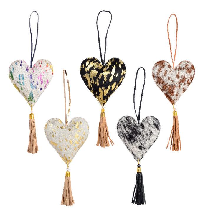 Cowhide Heart Hang- Christmas Heart Hanging (Min 3pcs)