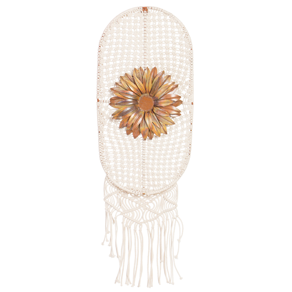 Oval Macrame Wall Hanging with Metal Flower – MH13N
