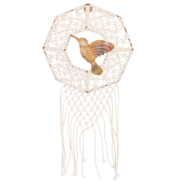 Octagon Macrame Wall Hanging With Metal Bird – MH12N