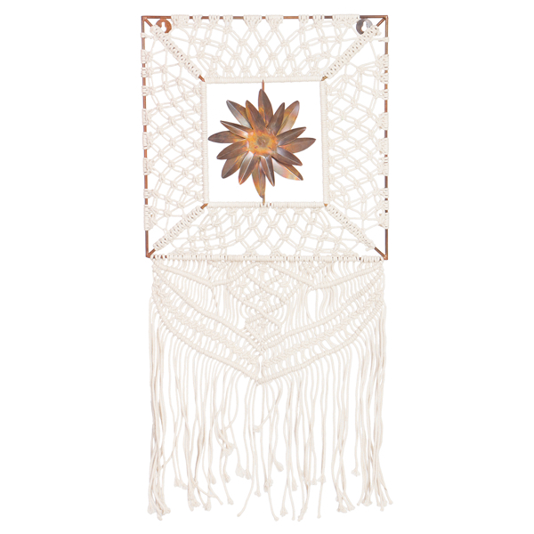 Square Macrame Wall Hanging with Metal Flower – MH14N