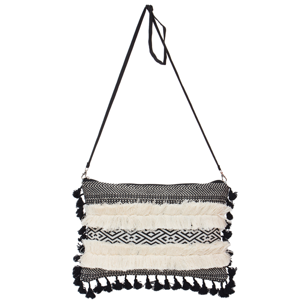 B/W Medium Bag with Tassels – MB03