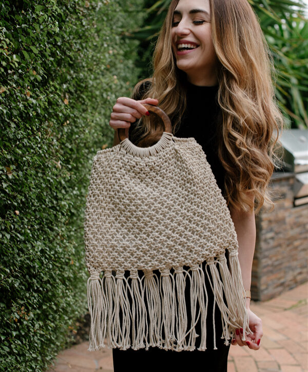 Macrame Wood Handle Bag – MI3001