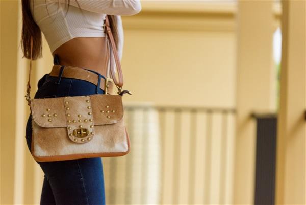 Flap Cowhide Bag with Studs- Monaco (B71004)