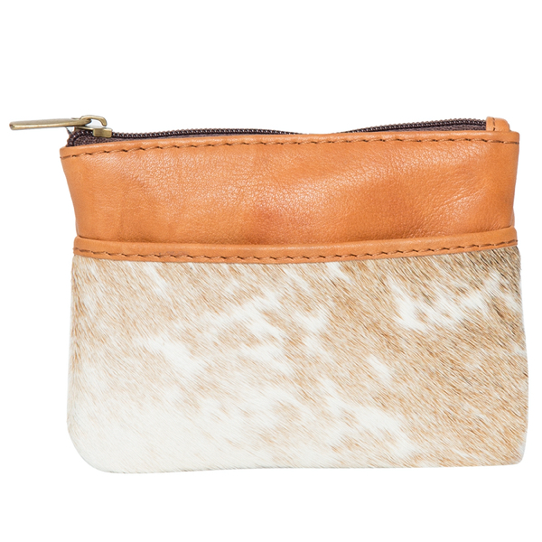 Peru Light Tan White Cowhide Purse