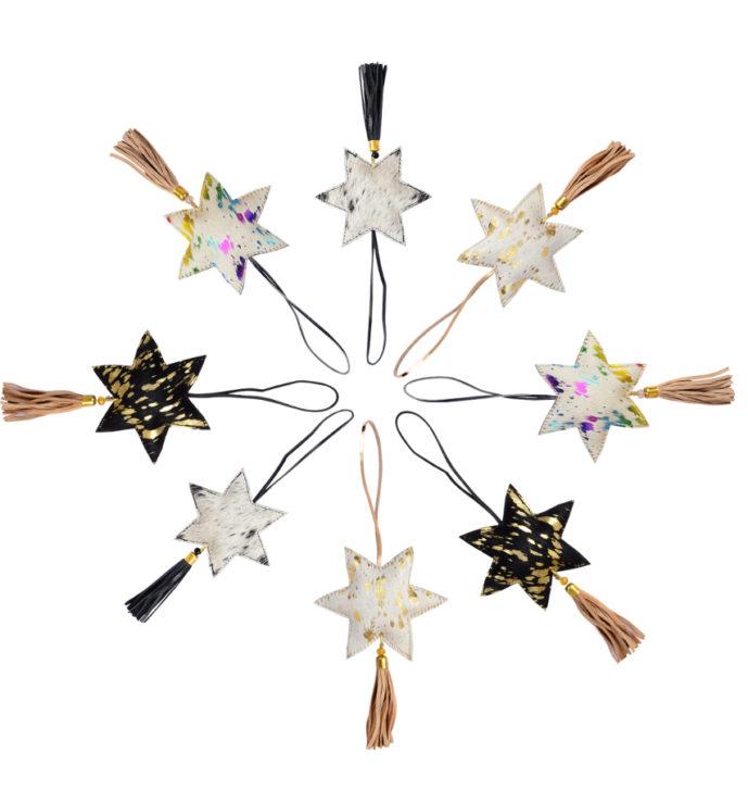 Cowhide Star Hang- Christmas Star Hanging (Min 3pcs)
