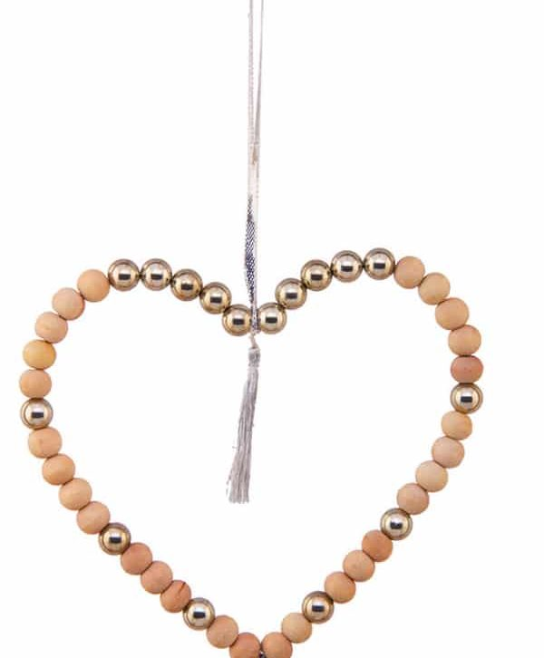 Wood Bead Heart Hanging Medium – Home Decorative – WB1605 (Min 3pcs)