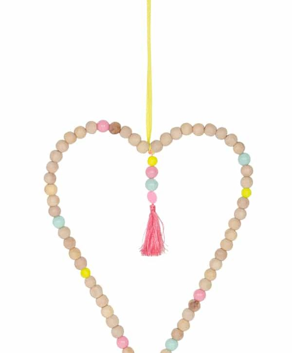 Wood Bead Heart Hanging X-Large – Home Decorative – WB1610 (Min 3pcs)