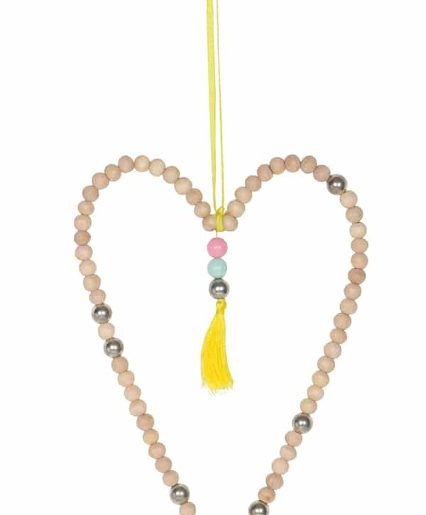 Wood Bead Heart Hanging Large – Home Decorative – WB1619 (Min 3pcs)