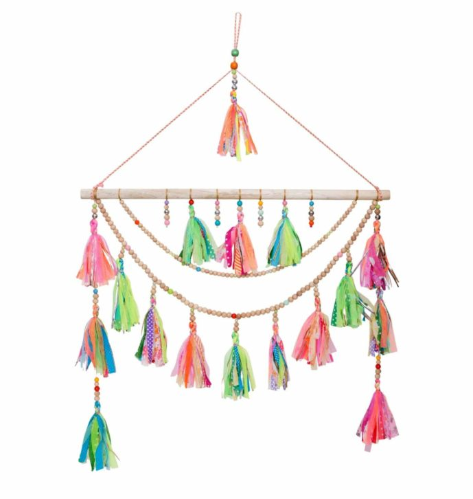 Woodbeads and Multi Tassels Wall Hanging – Home Decorative – WH3122