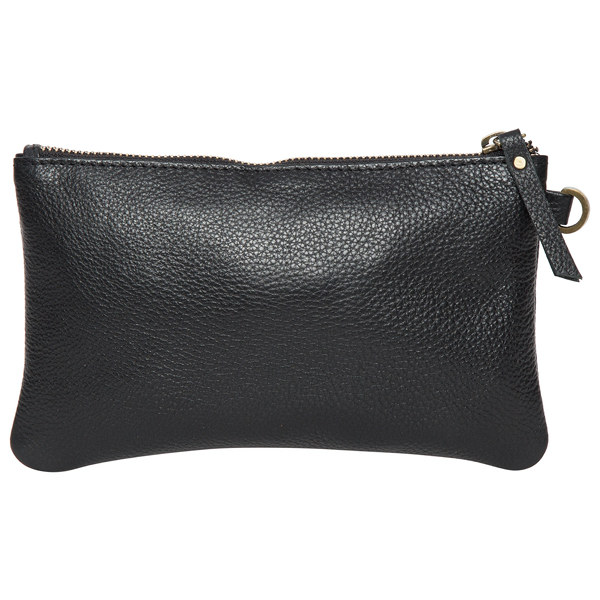 Toronto Black Grain Leather Clutch Back