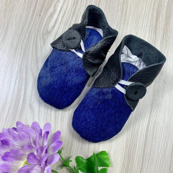 Booties Blue Black Cowhide