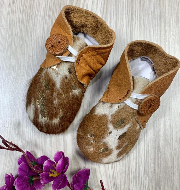 Hairon Baby Booties Cowhide Footwear ( Min 2pcs / per colour – One Size)