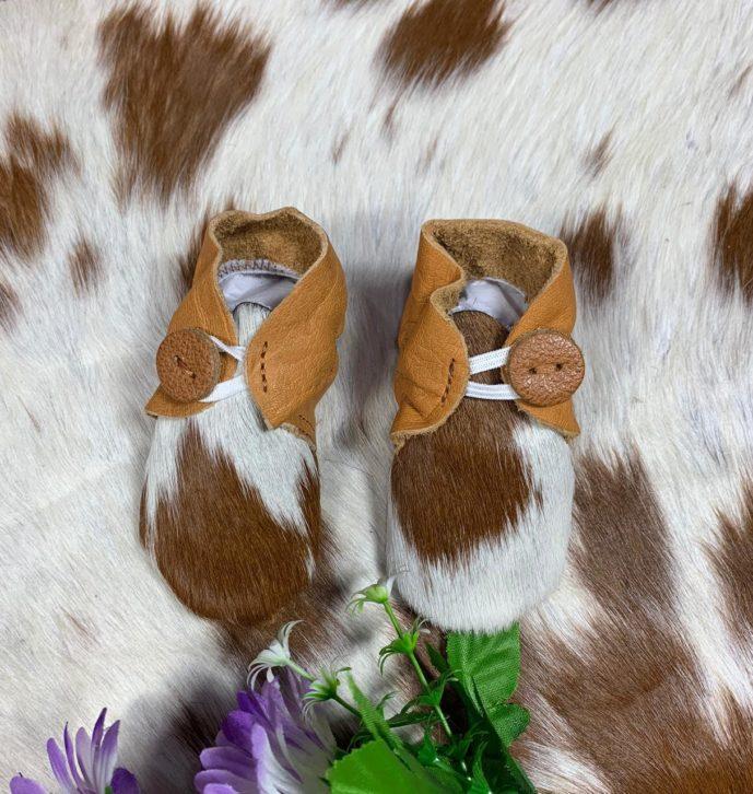 Booties Tan White Cowhide