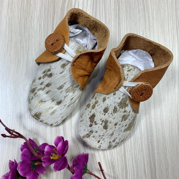 Booties Tan White Gold Cowhide
