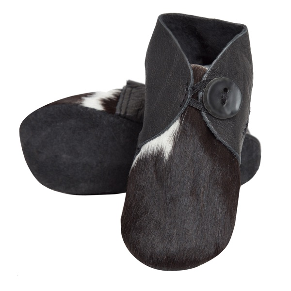 Booties Black White Cowhide Baby Boots 1