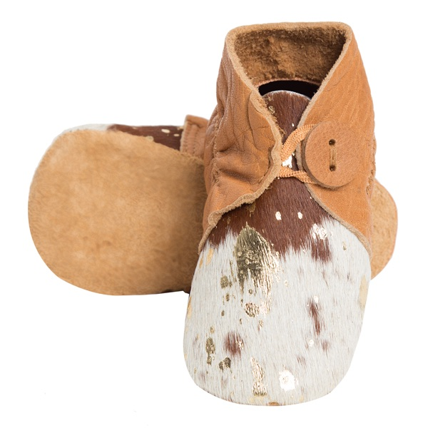 Booties Gold Foil Tan White Cowhide Baby Boots 1