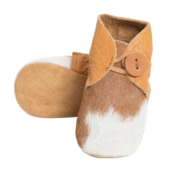 Booties Tan White Cowhide Baby Boots 1