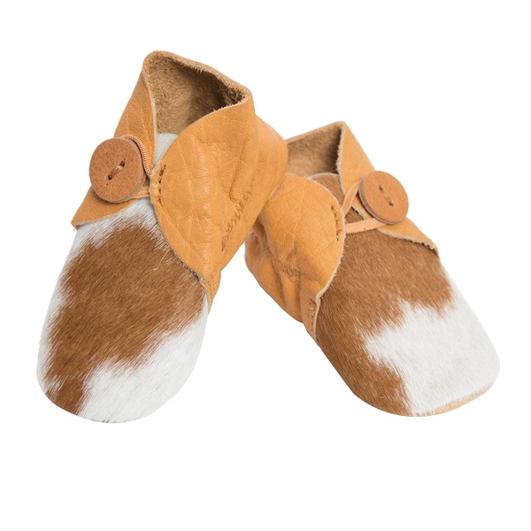 Booties Tan White Cowhide Baby Boots
