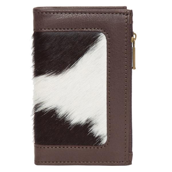 Ca03 Brown White Cowhide Wallet