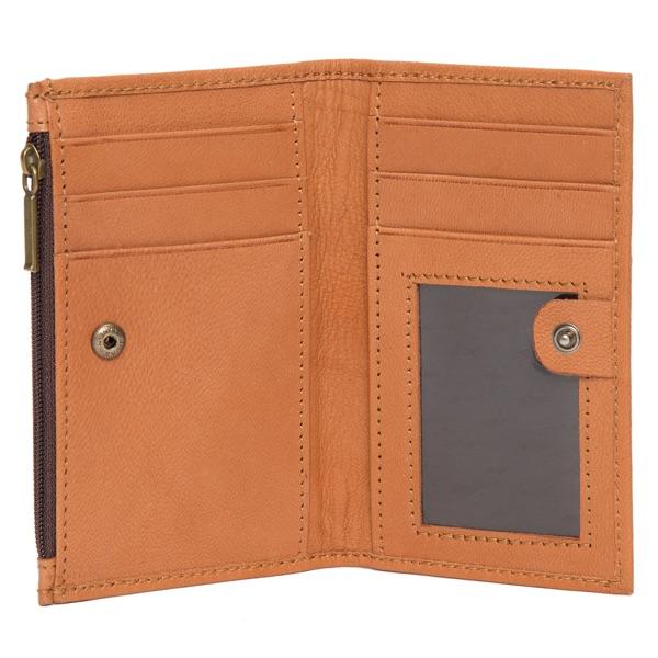 Ca03 Tan White Cowhide Wallet Inside