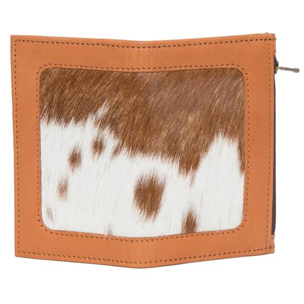 Ca03 Tan White Cowhide Wallet Open