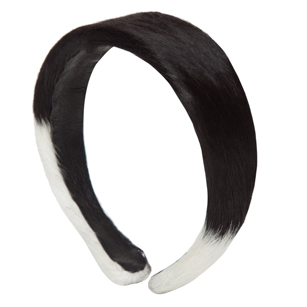 Cahb Black White Cowhide Headband