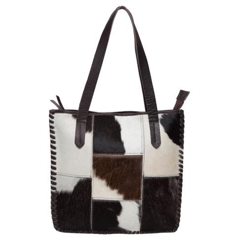 Ab01 Black White Cowhide Patchwork Bag