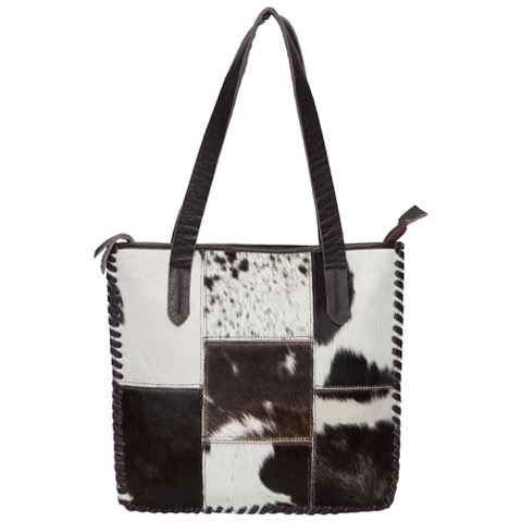 Ab01 Brown White Cowhide Patchwork Bag