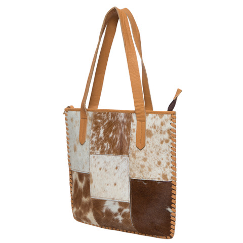 Ab01 Tan White Cowhide Patchwork Bag Side