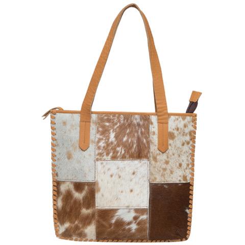 Ab01 Tan White Cowhide Patchwork Bag