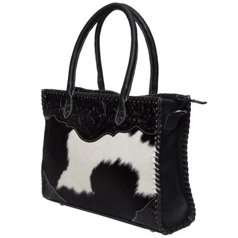 Ab02 Black White Cowhide Tooling Bag Side