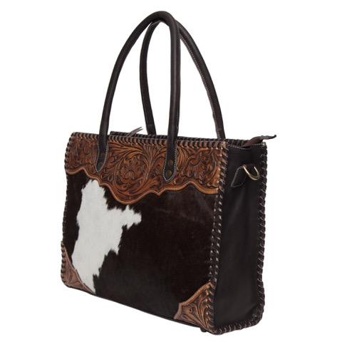 Ab02 Brown White Cowhide Tooling Bag Side
