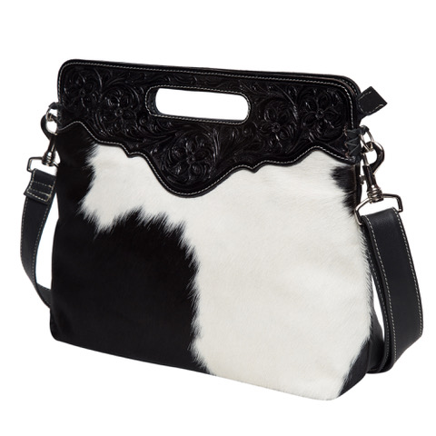 Ab03 Black White Cowhide Tooling Bag Without Fringe Side