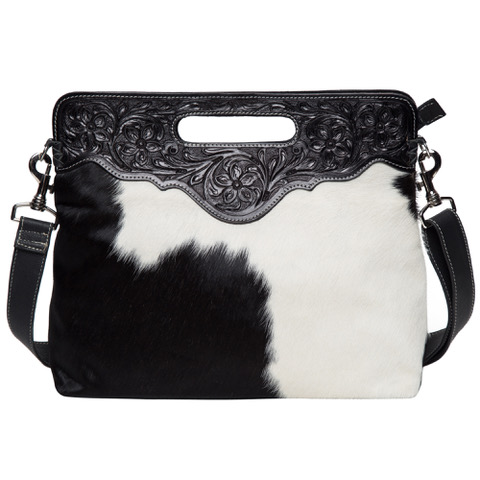 Ab03 Black White Cowhide Tooling Bag Without Fringe