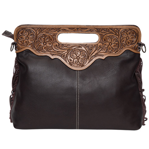 Ab03 Brown White Cowhide Tooling Bag Back