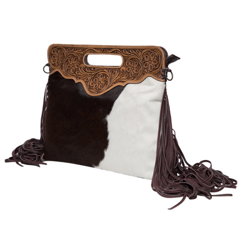 Ab03 Brown White Cowhide Tooling Bag Side