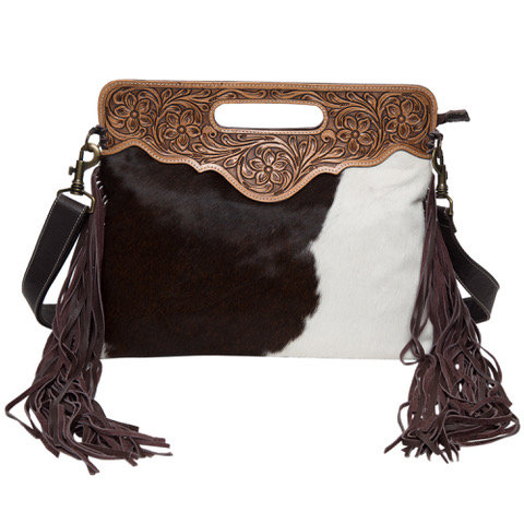 Ab03 Brown White Cowhide Tooling Bag