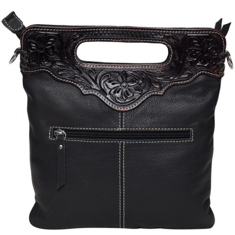 Ab04 Black White Cowhide Tooling Bag Without Fringe Back