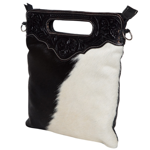 Ab04 Black White Cowhide Tooling Bag Without Fringe Side